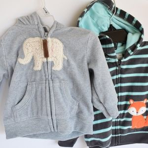 Two Carter's Hooded Sweatshirts- 3 Months